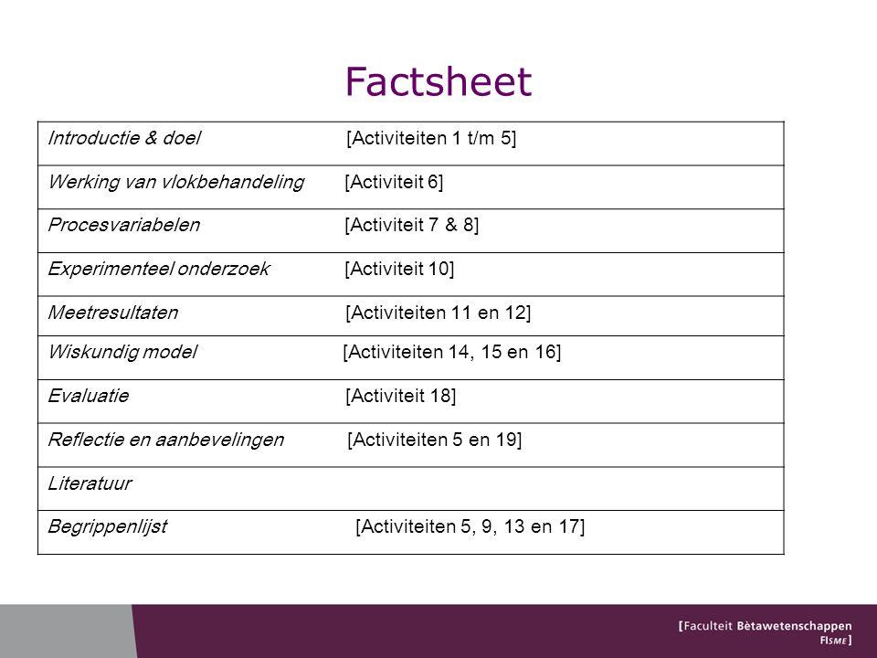 Factsheet Introductie & doel [Activiteiten 1 t/m 5]